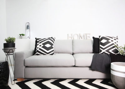 "Custom Furniture Design ""The Sorrento"" lounge setting with black and white styling Style"